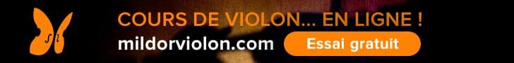 Cours de violon en ligne Mildor Violon Super banniere Leaderboard
