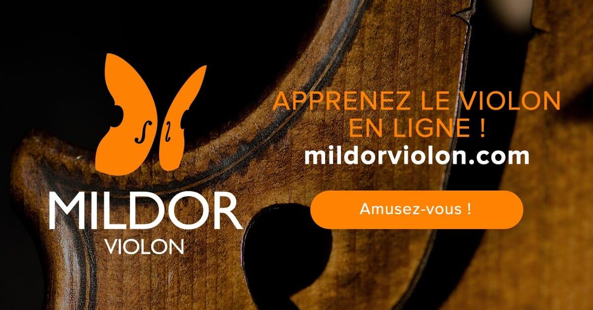 Cours de violon en ligne Mildor Violon Publication Facebook